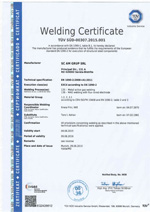 Welding certif. EN 1090-2